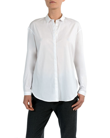 Narrow Collar Button-Down Poplin Blouse