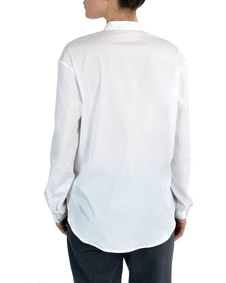 Narrow Collar Button-Down Poplin Blouse