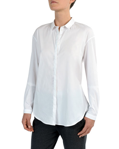 Eleventy Narrow Collar Button-Down Poplin Blouse
