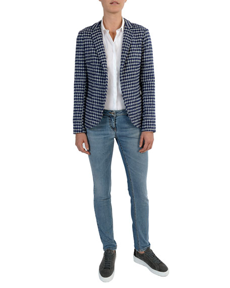 Relaxed Houndstooth Stretch-Wool Blazer