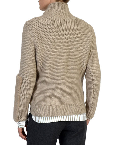3-Gauge Cashmere Sweater w/ Mink Fur Sleeve