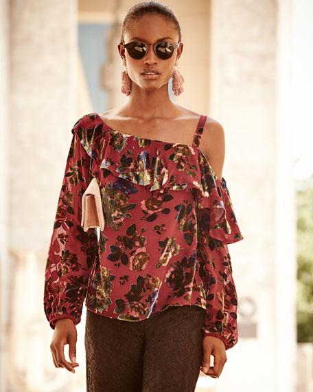One-Shoulder Floral-Burnout Velvet Ruffled Top