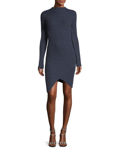 Eleventy Textured Long-Sleeve Asymmetric Dress