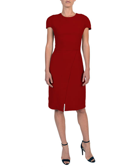 Cap-Sleeve Cady Dress w/ Faux-Wrap Skirt