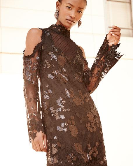 Corine Cold-Shoulder Sequin Lace Cocktail Dress