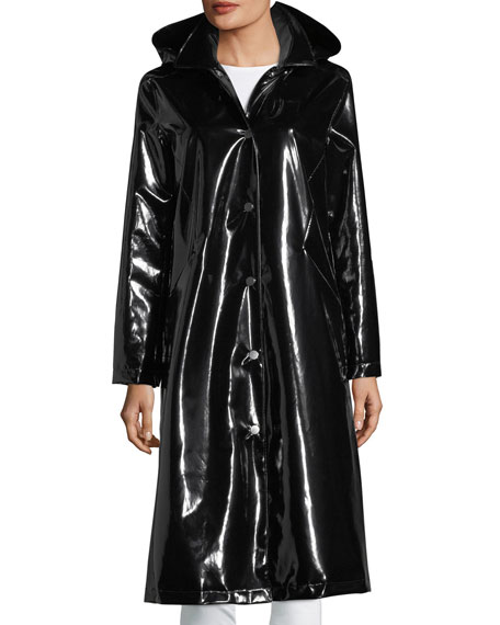 Jane Post Hooded Snap-Front Long Rain Slicker Coat