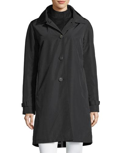 3-in-1 Button-Front Rain Coat w/ Wool Interlock