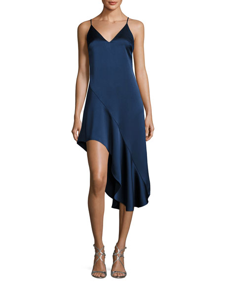 Halston Heritage Sleeveless V-Neck Asymmetric Flounce Satin