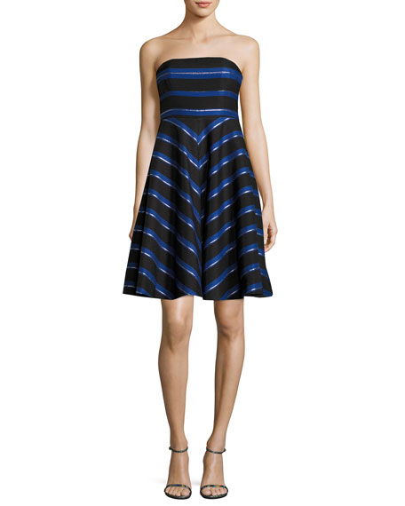 Halston Heritage Strapless Metallic-Stripe Fit-and-Flare Cocktail