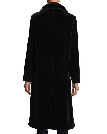 Long-Sleeve Button-Front Long Velvet Coat