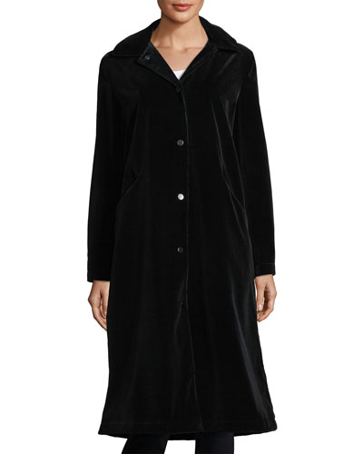 Long-Sleeve Button-Front Long Velvet Coat