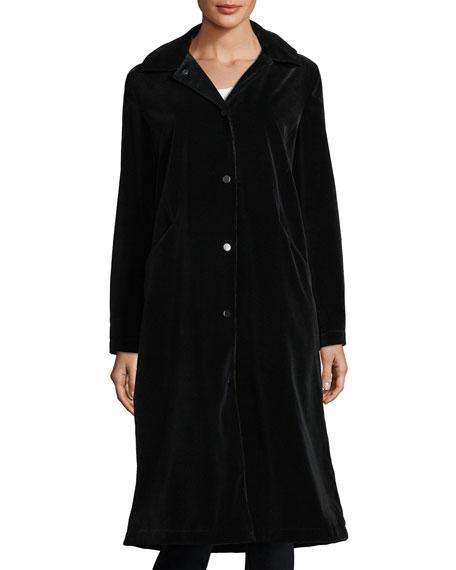Jane Post Long-Sleeve Button-Front Long Velvet Coat