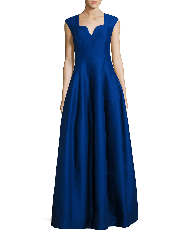 Halston Heritage Cap-Sleeve Geo-Neck A-Line Structured Evening Gown ...