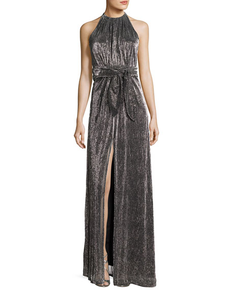 Halston Heritage Sleeveless Halter-Neck Textured Metallic Evening