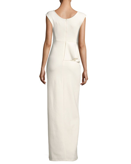 Cap-Sleeve Round-Neck Column Evening Gown w/ Ruffle