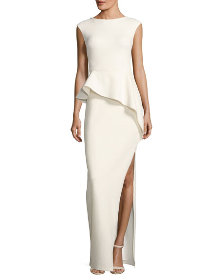 Halston Heritage Cap-Sleeve Round-Neck Column Evening Gown w/