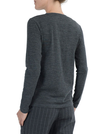 Long-Sleeve Crewneck Stretch-Wool T-Shirt