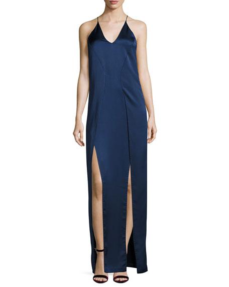 Sleeveless V-Neck Satin Slip Evening Gown