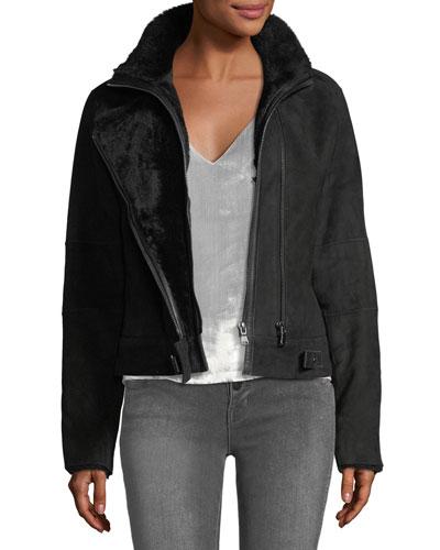 Camilla Zip-Front Suede Shearling Jacket