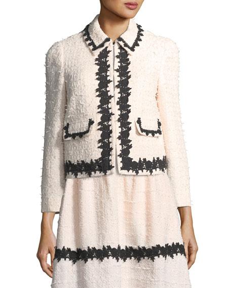 reagan tweed tailored jacket w/ border trim