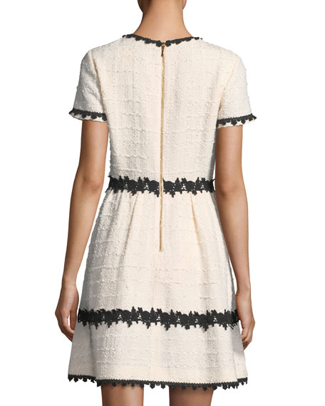 jayne jewel-neck tweed mini dress w/ lace trim