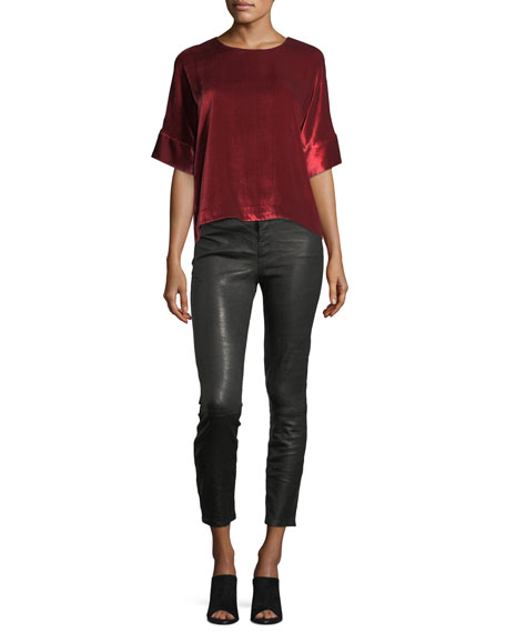 Ruby Lamb Leather Skinny-Leg Pants