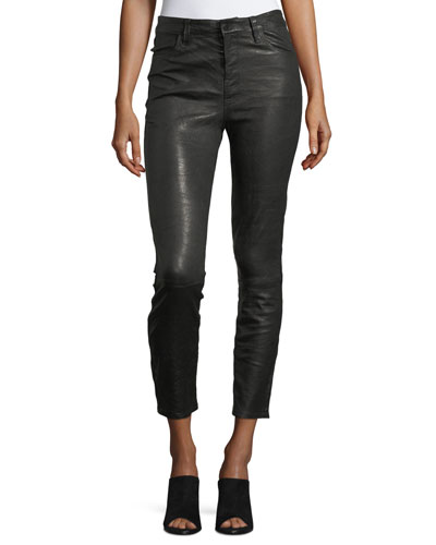 Ruby Lamb Leather Skinny-Leg Pants