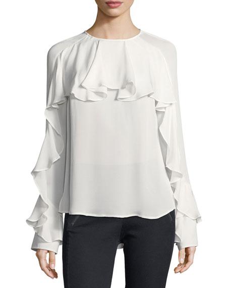 Mia Long-Sleeve Silk Ruffle Blouse