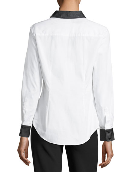 Faux Leather-Trim Poplin Shirt