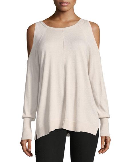 Long-Sleeve Cold-Shoulder Top, Pink