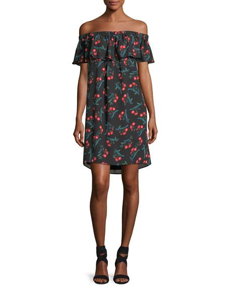 Ruffled Off-the-Shoulder Floral-Print Dress