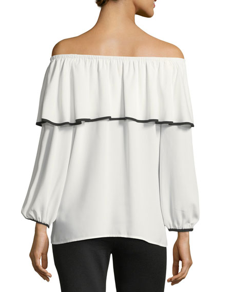 Contrast-Trim Off-the-Shoulder Blouse
