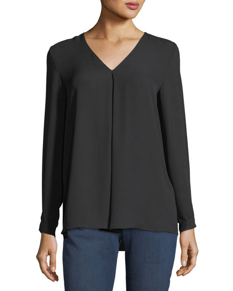 Inverted-Pleat Crepe Blouse