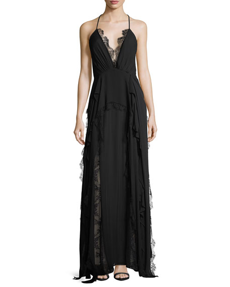 Ruffled Waterfall Deep V-Neck Silk Evening Gown w/ Lace