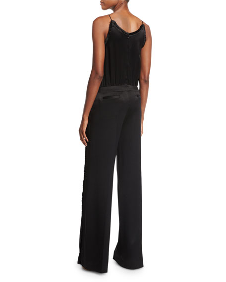 Cami Sateen Wide-Leg Jumpsuit w/ Fringed Trim