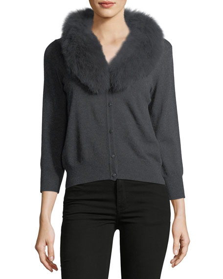 Fox Fur-Collar Wool Cardigan