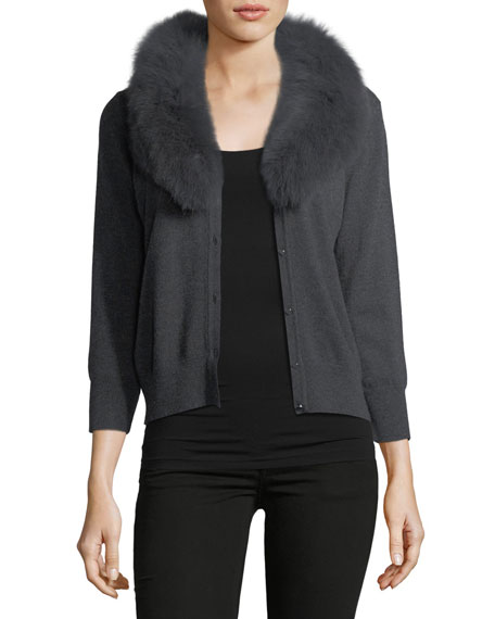 Milly Fox Fur-Collar Wool Cardigan