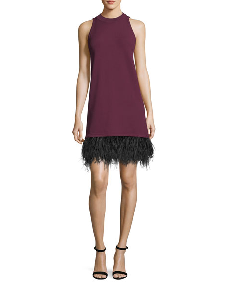 Milly Sleeveless Cocktail Shift Dress w/ Ostrich Feather