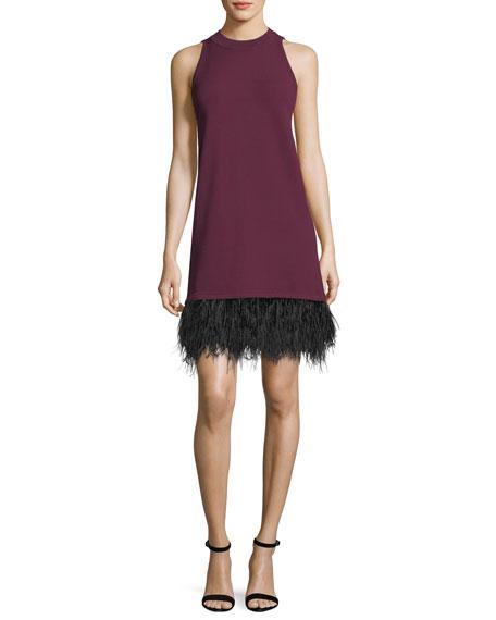 Sleeveless Cocktail Shift Dress w/ Ostrich Feather Hem