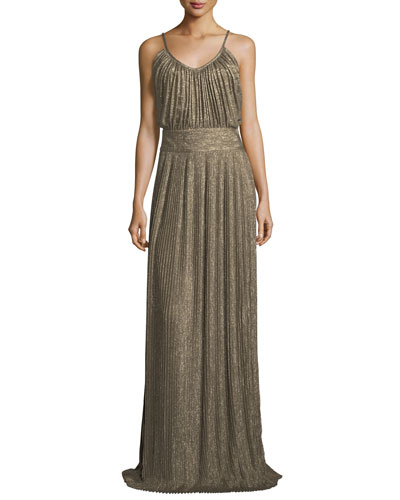 Pleated Sleeveless Maxi Dress