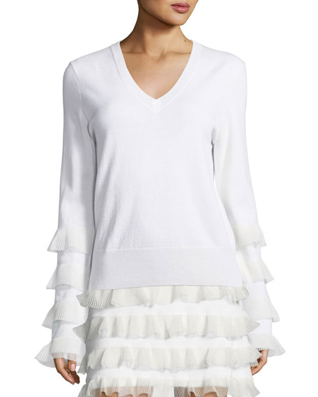 Derek Lam 10 Crosby V-Neck Long-Sleeve Wool Sweater