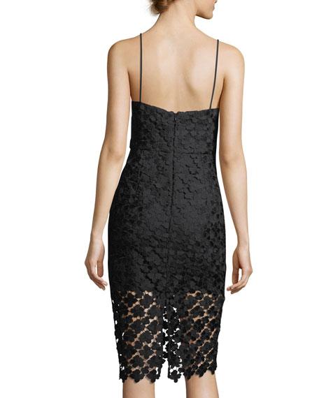 Scarlett Sleeveless V-Neck Floral-Guipure Cocktail Dress