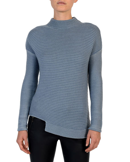 Eleventy Mock-Neck Garment-Dyed Wool Sweater
