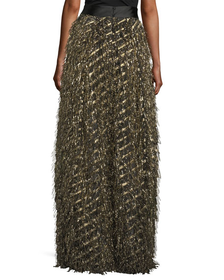 Fringed Diagonal Metallic Ball Skirt