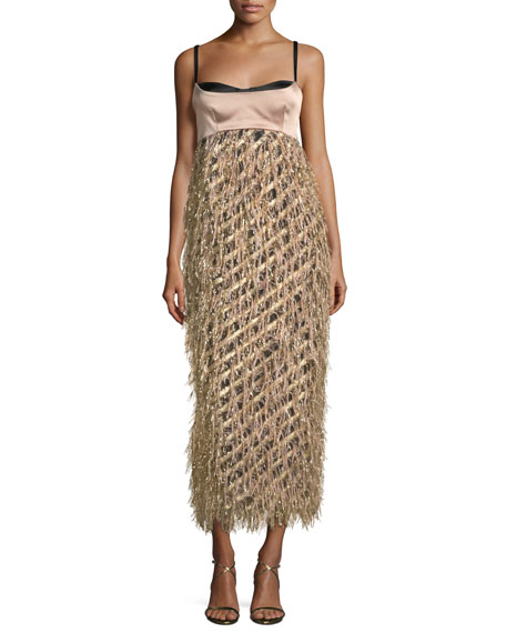 Milly Courtney Sleeveless Diagonal Lurex® Fringed Cocktail Dress