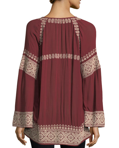 Therone Embroidered Split-Neck Tunic