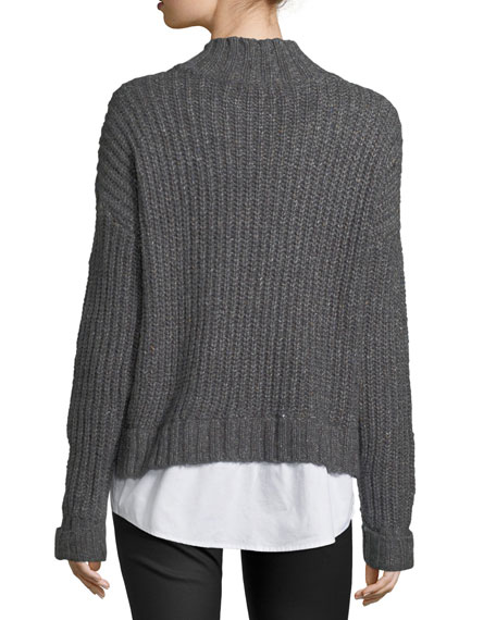 Shirttail-Trim Cable-Knit Sweater