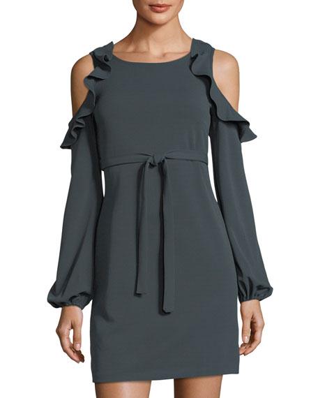 Free Generation Cold-Shoulder Belted Dress