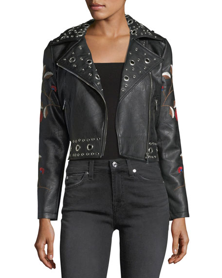 Floral Embroidered Moto Jacket