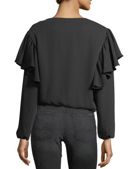 Ruffled Satin Zip-Front Jacket
